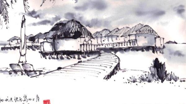 钢笔画世界 | 马尔代夫的海上木屋