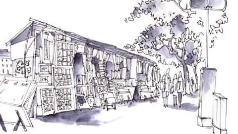 钢笔画世界|塞纳河畔的旧书市场
