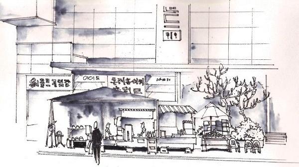 钢笔画世界 | 济州岛西归浦市路边商铺