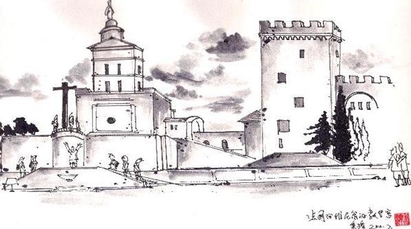 钢笔画世界 | 阿维尼翁的教皇宫