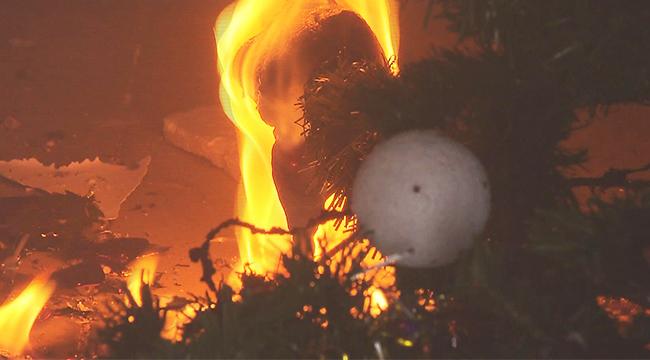 沪消防部门亲测:一棵圣诞树两分钟烧完