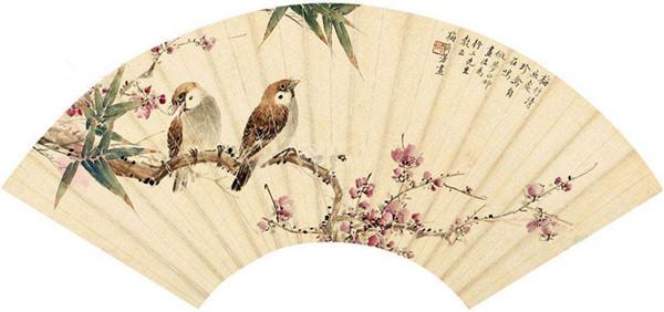 梅兰芳画扇面:梅竹清幽处,珍禽自在鸣