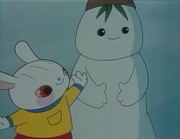 图说:80版《雪孩子》中的小白兔以及雪孩子 网络图