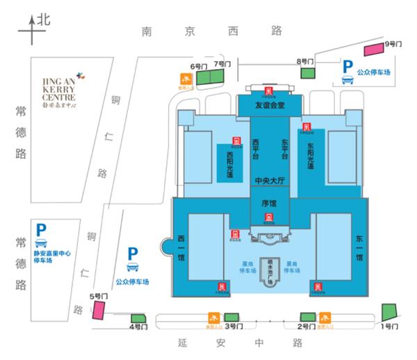 图说:展馆平面图 网络截图   凭票根免费停车1小时   上海展览中心5号门和9号门的广场将提供约300个停车位,每小时10元,每半小时5元,无封顶。本届书展在展览中心旁边的嘉里中心还安排了800个停车位,每小时15元,书展期间,凭书展当日门票票根获取当日免费停车1小时优惠券,私家车可从常德路进入停车场。   购书均可打8折   每年上海书展都会绘制详细的展位分布图,该分布图将出现在读者指南和现场触摸屏上。建议读者进门后先看展位图,再针对性地去逛自己喜欢的展位。在保留往年餐饮、快递、导购等服务的基础上,