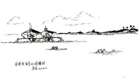 钢笔画世界|菲律宾的螃蟹船