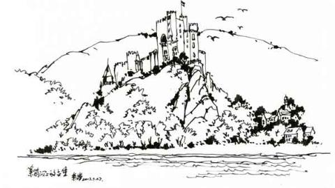 钢笔画世界|莱茵河畔的古堡