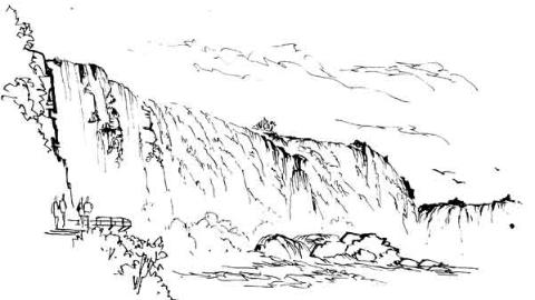 钢笔画世界|伊瓜苏大瀑布