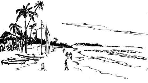 钢笔画世界|斯里兰卡亚洪加拉海滨风光