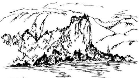 钢笔画世界|阿尔卑斯山中的贝莱德湖