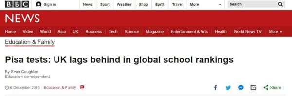 BBC报道《英国在PISA考试的全球排名中落后》.jpg
