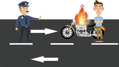 违规驾驶无牌摩托车被查 男子放火烧车泄愤被批捕