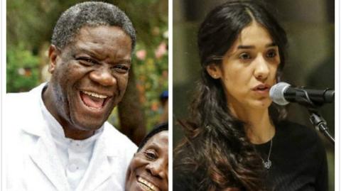 两名反性暴力人士分享2018年诺贝尔和平奖