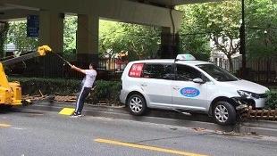 重庆南路一出租车冲上绿化带 幸无人员伤亡