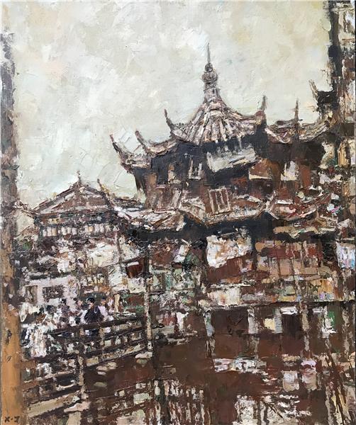 许江 《逝去的风景—豫园》 布面油画.jpg