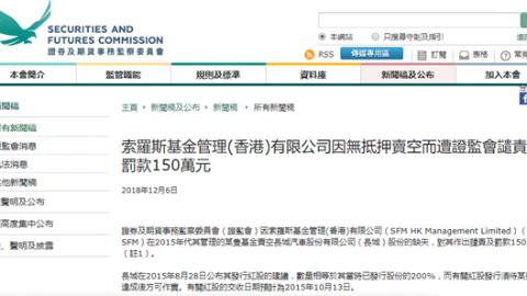 国际资本大鳄违规卖空 索罗斯基金被香港证监会罚150万港元