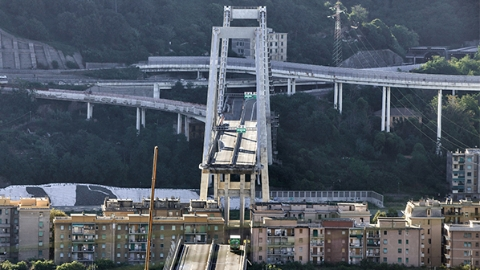意大利8月垮塌大桥开始拆除 混凝土基建老化已成世界性难题