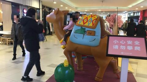 """孩子""""骑骆驼""""家长忙拍照,殊不知…… 商场内的这些装饰物可别乱攀爬"""