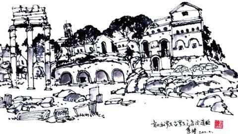 钢笔画世界|罗马古元老院遗址