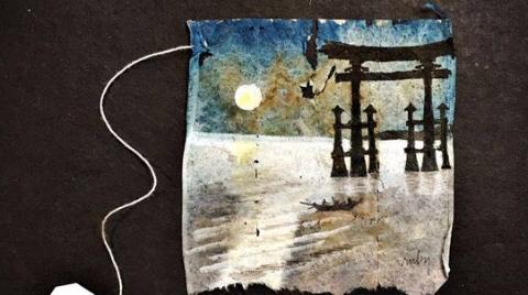垃圾茶包秒变名画?史上最会持家的艺术家在袋泡茶上作画