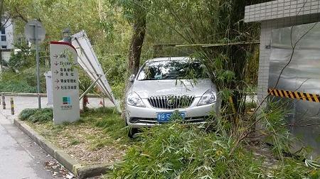 险! 驾驶员误将油门当刹车 轿车一头扎进小区绿化带