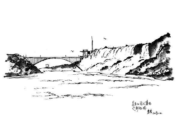 钢笔画世界 | 尼亚加拉大瀑布之彩虹桥