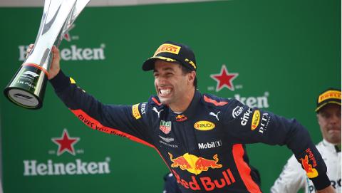 开着临时修复的赛车,里卡多勇夺F1中国大奖赛冠军