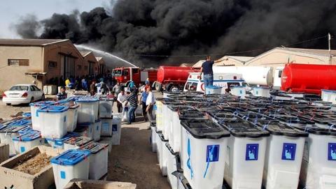 """投票物资存储仓库遭人纵火?舞弊争议让伊拉克选举结果""""难产"""""""