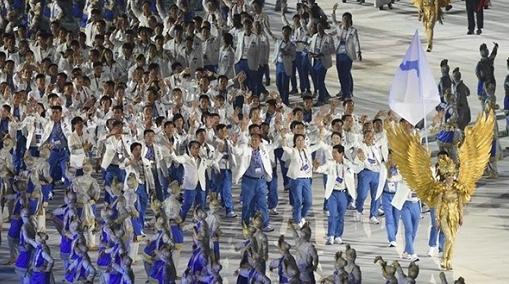 亚运会开幕式亮点多:总统骑摩托 朝韩再联合