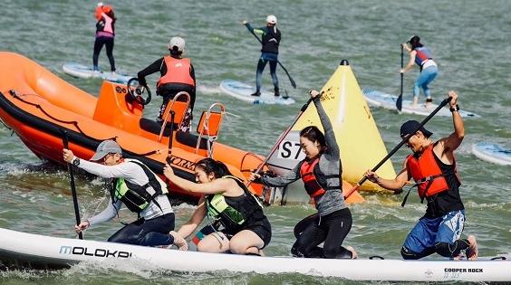市民齐聚上海市淀山湖桨板大奖赛