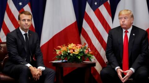"""特朗普马克龙""""蜜月不再""""?联大发言针锋相对,见面握手""""公事公办"""""""