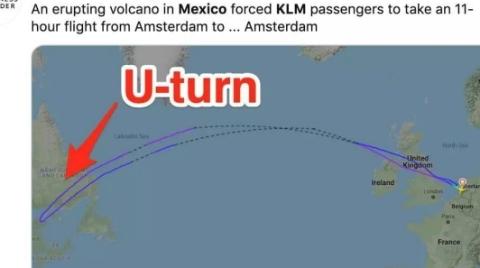 坐了11个小时的飞机:从阿姆斯特丹飞到...阿姆斯特丹...