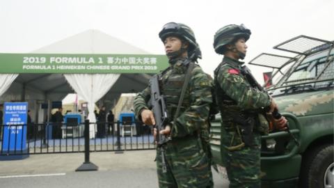 武警官兵护航F1中国大奖赛