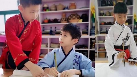 穿汉服去上学!二联小学中秋汉服日体验传统文化