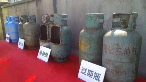 """拔除""""行走""""在申城的""""移动炸弹"""" 上海警方集中销毁非法液化石油气钢瓶"""