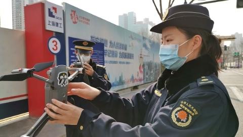 抗疫在社区|空中监管新举措!黄浦城管用无人机航拍巡查开工工地