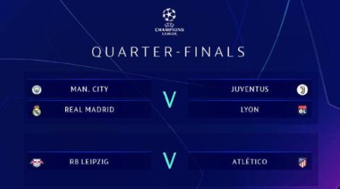 欧冠8强分组对阵出炉:C罗有望战旧主 巴黎马竞签运佳
