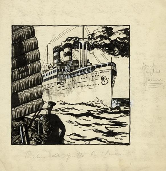 """丁丁历险记之丁丁在远东》""""丁丁离开中国"""",《小二十世纪》的封面画(1934年11月8日),520×520mm。_ Hergé-Moulinsart 2021。_副本.jpg"""